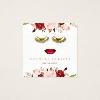 makeup lips and golden lashes square business card
