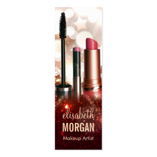 Makeup Lipstick Eyebrow Pencil Modern Gold Glitter Double-Sided Mini Business Cards (Pack Of 20)