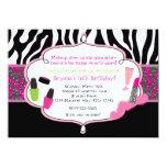 Makeup Makeover Zebra Birthday Party Invitation