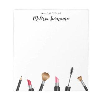Makeup Mascara, Lipstick, Pencil, Brushes & Name Notepad