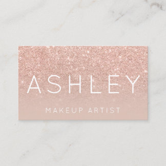 Makeup name elegant typography blush rose gold business card