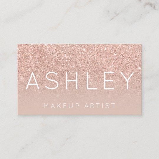 makeup name elegant typography blush rose gold business card - Rose Gold Business Cards