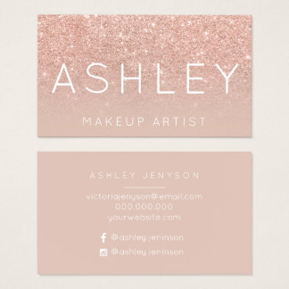 Makeup name elegant typography blush rose gold business card