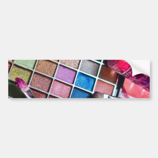 Makeup Palette and Brushes - Beauty Print Bumper Sticker