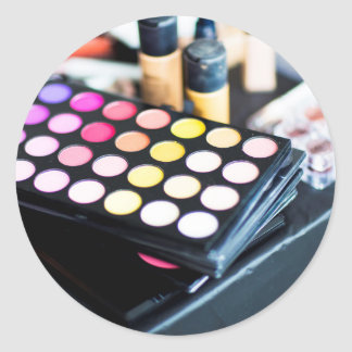 Makeup Palette and Brushes - Beauty Print Classic Round Sticker