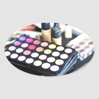 Makeup Palette and Brushes - Beauty Print Oval Sticker