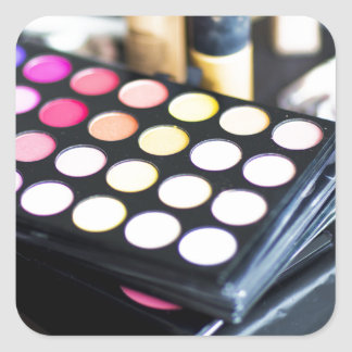 Makeup Palette and Brushes - Beauty Print Square Sticker
