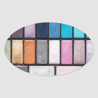 Makeup Palette - Beauty Cosmetics Print Oval Sticker