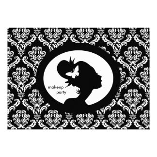Makeup Party Invitation Butterfly Woman Silhouette