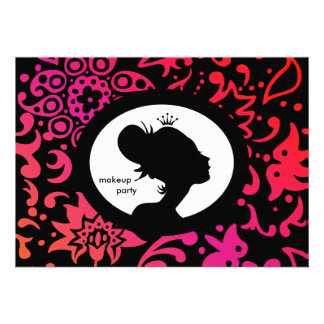 Makeup Party Invitation Crown Colorful Woman