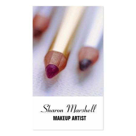 Lip Liner, Eye Liner and Eyebrow Makeup Pencils Cosmetologist Business Cards