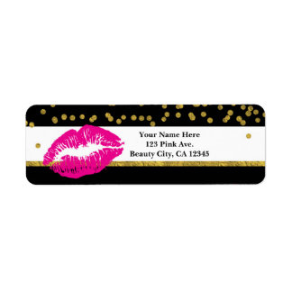 Makeup Pink Lips Gold Confetti & Stripes Glamour Label