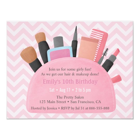 makeup pouch girls birthday party invitations zazzle com