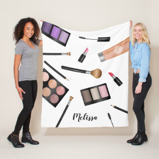 Makeup Products Illustration & Personalized Name Fleece Blanket