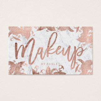 Makeup rose gold floral typography white marble business card