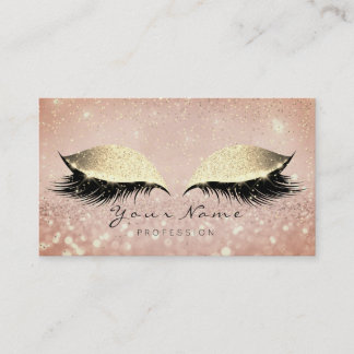 Makeup Rose Gold Lashes Extention Glitter Beauty Appointment Card