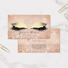 Makeup Rose Gold Lashes Extention Glitter Beauty Business Card at Zazzle