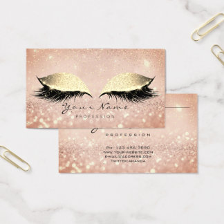 Makeup Rose Gold Lashes Extention Glitter Beauty Business Card