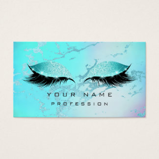 Makeup Tiffany Blue Eyes Lashes Glitter Ombre Business Card