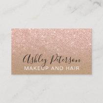 Makeup typography brown kraft rose gold glitter business card