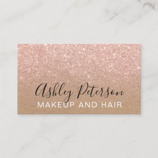 Makeup typography brown kraft rose gold glitter business card