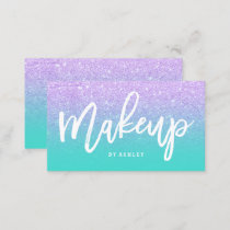 Makeup typography lavender glitter turquoise business card