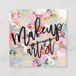 """Makeup typography modern floral watercolor square business card<br><div class=""""desc"""">A modern,  elegant and creative Makeup artist typography in black on pastel pink,  purple floral watercolor pattern add your social media,  don&#39;t hesitate in contacting for any customization</div>"""