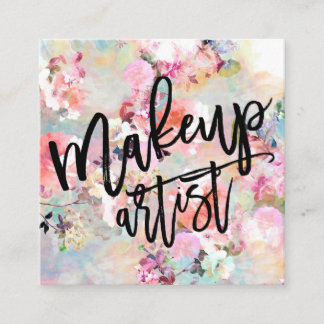 Makeup typography modern floral watercolor square business card