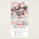"Makeup typography modern floral watercolor square business card<br><div class=""desc"">A modern,  elegant and creative Makeup artist typography in black on pastel pink,  purple floral watercolor pattern add your social media,  don&#39;t hesitate in contacting for any customization</div>"