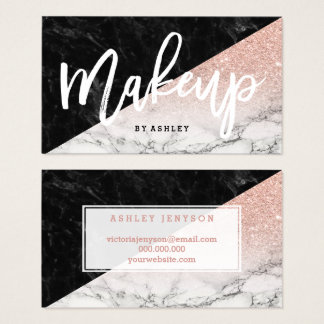 Makeup typography rose gold glitter block marble business card