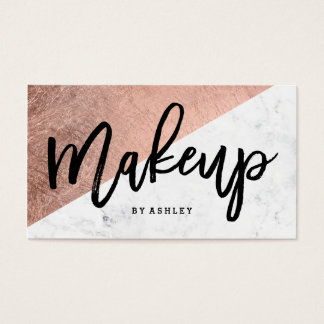Makeup typography rose gold marble color block business card