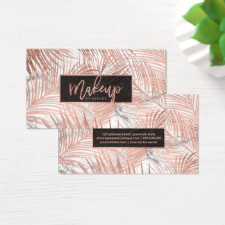 Makeup typography rose gold palm tree leaf marble business card