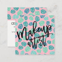 Makeup typography tropical leaf pink square business card