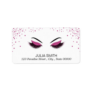 Makeup with glitter effect label