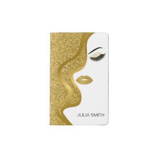 Makeup with glitter effect pocket moleskine notebook