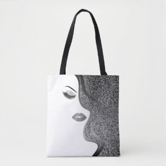 Makeup with glitter effect tote bag
