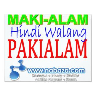 Maki-alam Hindi Walang Pakialam 4.25x5.5 Paper Invitation Card