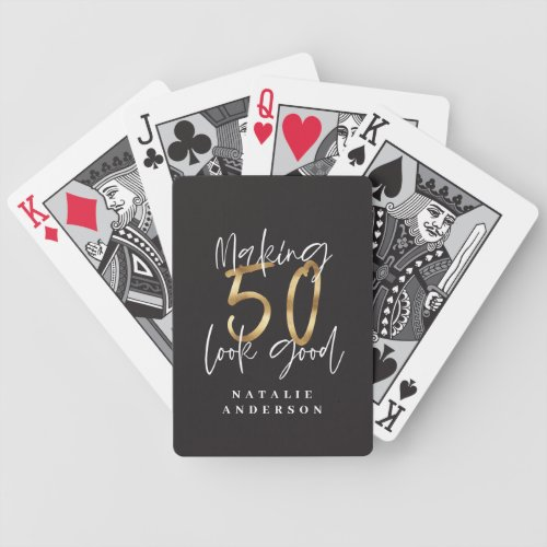 Making 50 look good gold birthday celebration bicycle playing cards