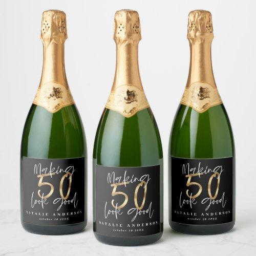Making 50 look good gold birthday celebration champagne label
