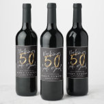 "Making 50 look good gold birthday celebration wine label<br><div class=""desc"">Celebrate your 50th birthday in style with these black,  white and gold effect 50 and fabulous birthday party labels. A modern design with script text and bold graphics. Change the colour to customise. Part of a collection.</div>"
