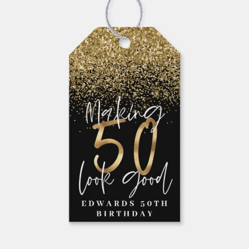Making 50 look good gold birthday thank you gift tags