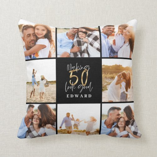 Making 50 look good gold black photo birthday throw pillow