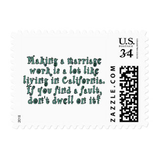 Making a marriage work is a lot like... stamp