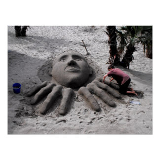 Making a sand sculpture in spring in Marbella Posters