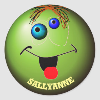 Making funny faces classic round sticker