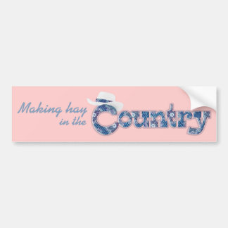 Making hay in the Country pink car sticker