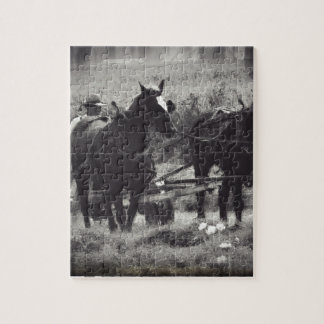 Making Hay With Horses Black and White Jigsaw Puzzle