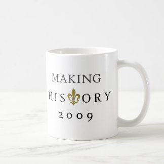 MAKING HISTORY 2009 WHODAT NATION CLASSIC WHITE COFFEE MUG