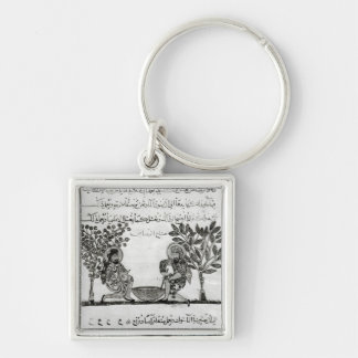 Making Lead, page from an Arabic edition Silver-Colored Square Keychain