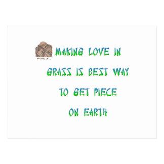 Making love in grass is best way to get piece ... postcard